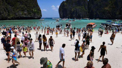 Tourists at Maya Bay
